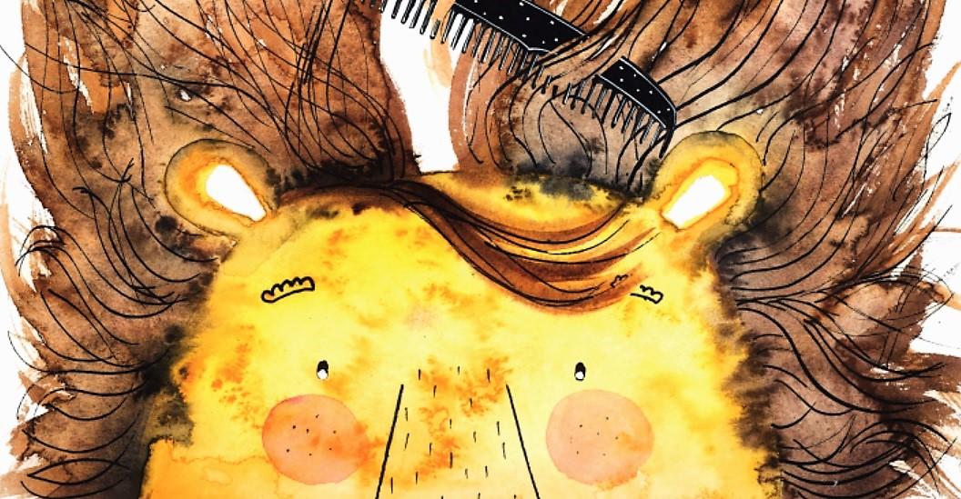 Szablon lwa Gdy lew się wybiera do fryzjera