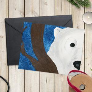 Autorska kartka niedźwiedź Hoho wraca do domu